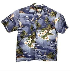 Hilo Hattie Hawaiian Originals Mens Ocean Shirt L